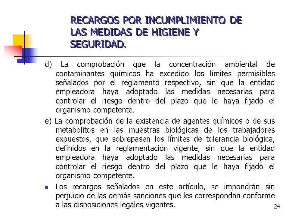 24 d) La comprobación que la concentración ambiental de contaminantes químicos ha excedido los límites permisibles señalados por el reglamento respect
