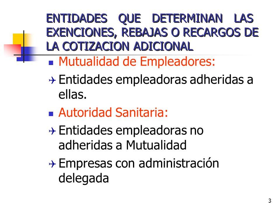 3 ENTIDADES QUE DETERMINAN LAS EXENCIONES, REBAJAS O RECARGOS DE LA COTIZACION ADICIONAL Mutualidad de Empleadores: Q Entidades empleadoras adheridas