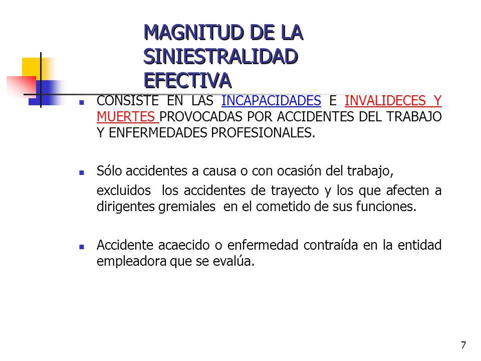 7 CONSISTE EN LAS INCAPACIDADES E INVALIDECES Y MUERTES PROVOCADAS POR ACCIDENTES DEL TRABAJO Y ENFERMEDADES PROFESIONALES. Sólo accidentes a causa o