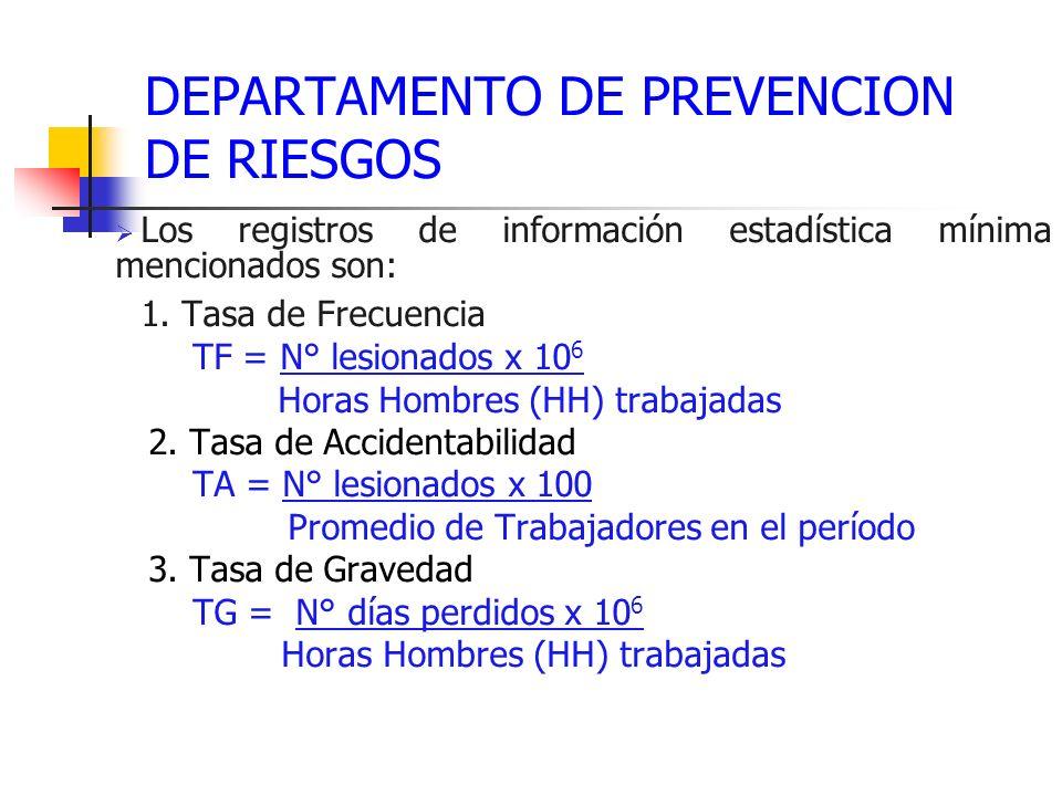 DEPARTAMENTO DE PREVENCION DE RIESGOS Los registros de información estadística mínima mencionados son: 1. Tasa de Frecuencia TF = N° lesionados x 10 6