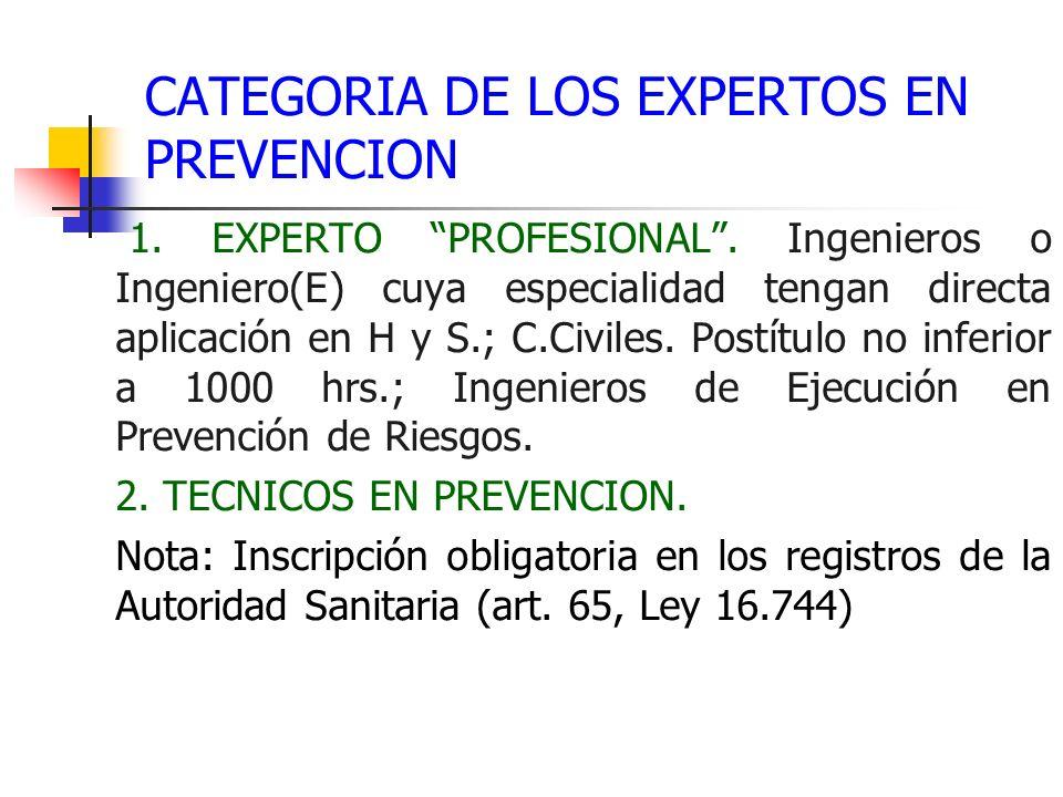 CATEGORIA DE LOS EXPERTOS EN PREVENCION 1. EXPERTO PROFESIONAL. Ingenieros o Ingeniero(E) cuya especialidad tengan directa aplicación en H y S.; C.Civ