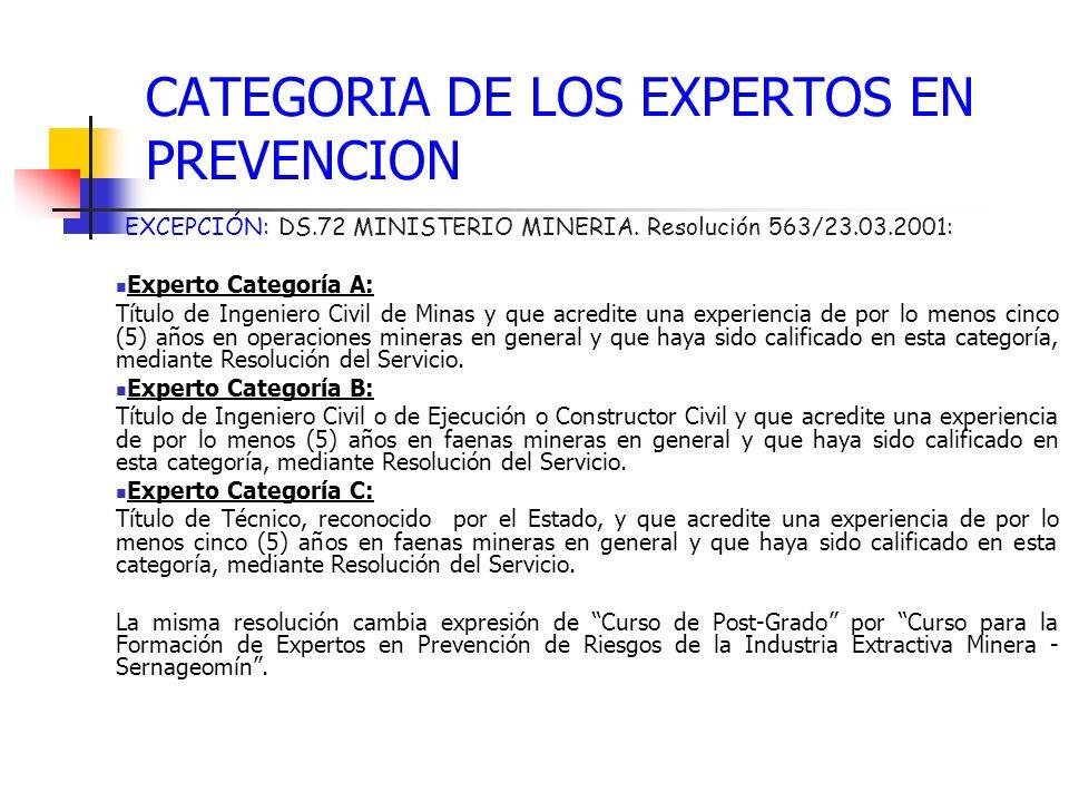 CATEGORIA DE LOS EXPERTOS EN PREVENCION EXCEPCIÓN: DS.72 MINISTERIO MINERIA. Resolución 563/23.03.2001: Experto Categoría A: Título de Ingeniero Civil