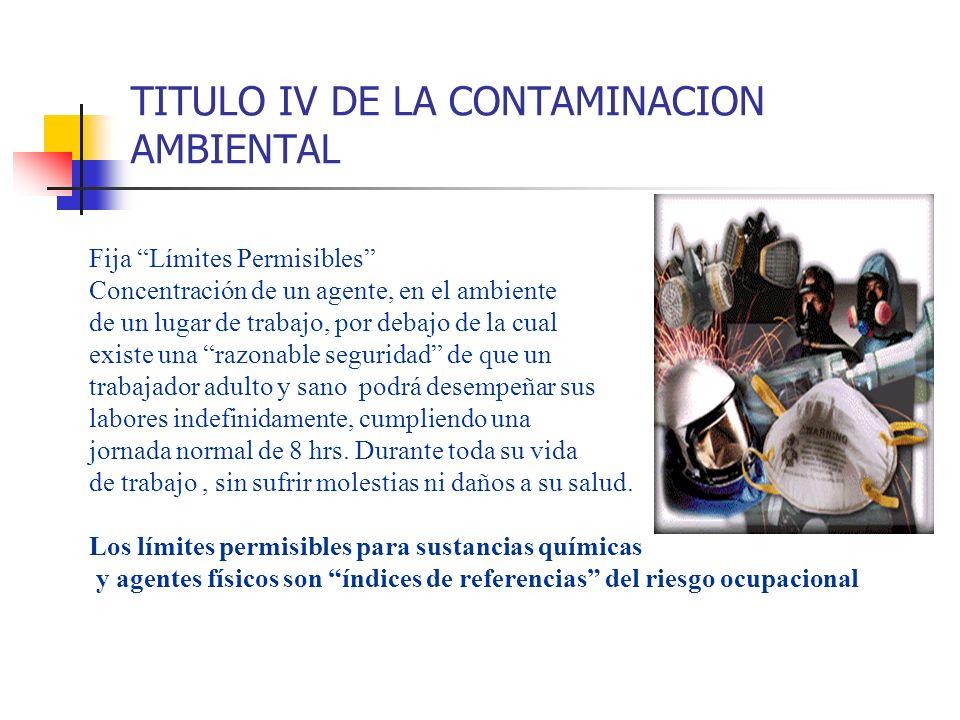 TITULO IV DE LA CONTAMINACION AMBIENTAL Fija Límites Permisibles Concentración de un agente, en el ambiente de un lugar de trabajo, por debajo de la c