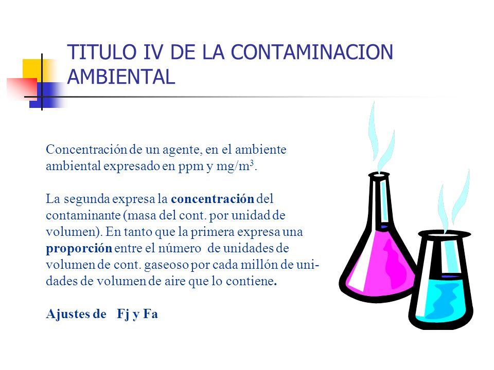 TITULO IV DE LA CONTAMINACION AMBIENTAL Concentración de un agente, en el ambiente ambiental expresado en ppm y mg/m 3. La segunda expresa la concentr
