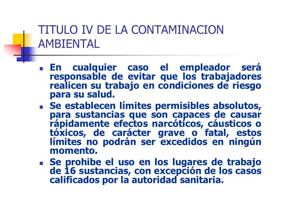 TITULO IV DE LA CONTAMINACION AMBIENTAL En cualquier caso el empleador será responsable de evitar que los trabajadores realicen su trabajo en condicio