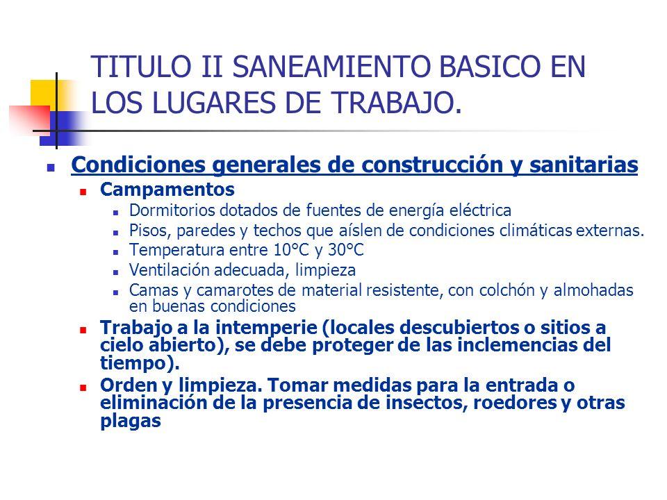 TITULO II SANEAMIENTO BASICO EN LOS LUGARES DE TRABAJO. Condiciones generales de construcción y sanitarias Campamentos Dormitorios dotados de fuentes