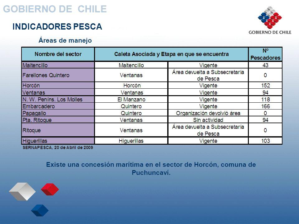 INDICADORES PESCA Áreas de manejo Existe una concesión marítima en el sector de Horcón, comuna de Puchuncaví.
