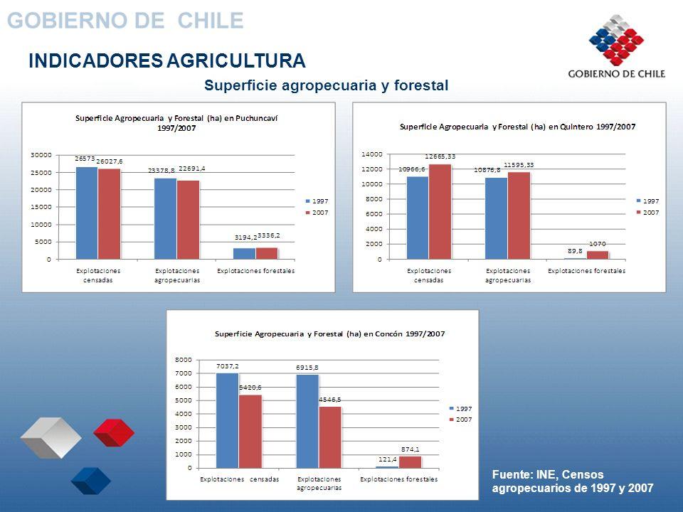 INDICADORES AGRICULTURA Superficie agropecuaria y forestal Fuente: INE, Censos agropecuarios de 1997 y 2007