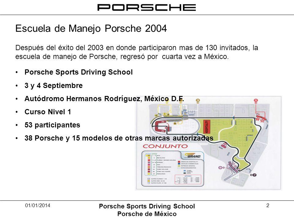 01/01/2014 Porsche Sports Driving School Porsche de México 2 Escuela de Manejo Porsche 2004 Después del éxito del 2003 en donde participaron mas de 130 invitados, la escuela de manejo de Porsche, regresó por cuarta vez a México.