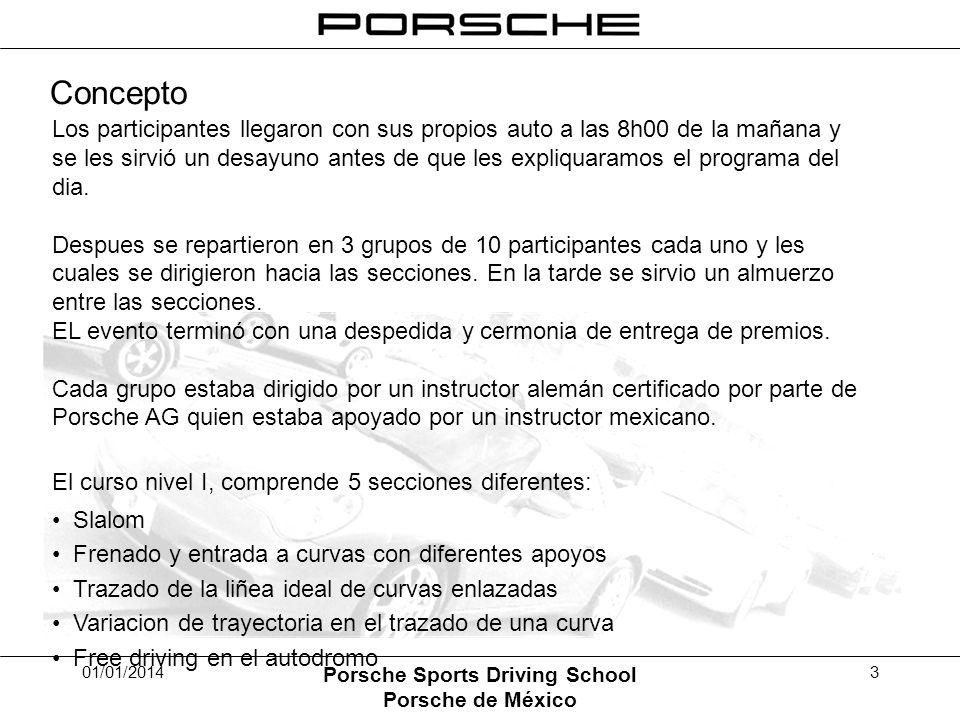01/01/2014 Porsche Sports Driving School Porsche de México 3 Los participantes llegaron con sus propios auto a las 8h00 de la mañana y se les sirvió u