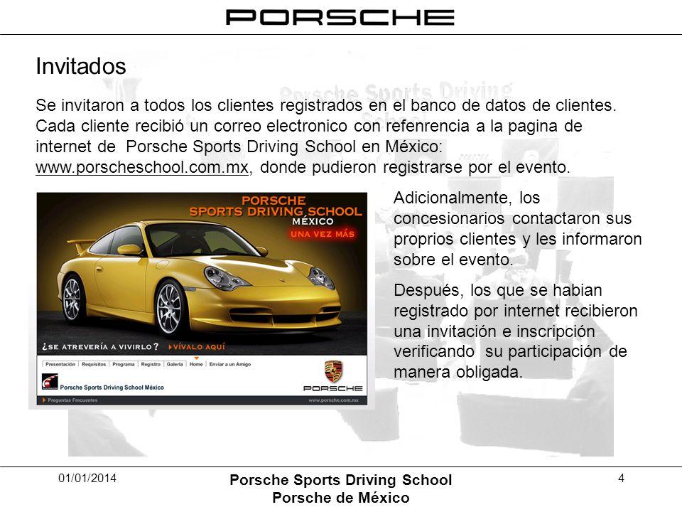 01/01/2014 Porsche Sports Driving School Porsche de México 4 Invitados Se invitaron a todos los clientes registrados en el banco de datos de clientes.