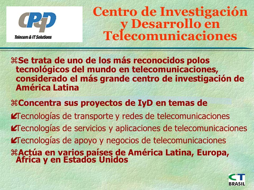 24 Centro de Investigación y Desarrollo en Telecomunicaciones zSe trata de uno de los más reconocidos polos tecnológicos del mundo en telecomunicaciones, considerado el más grande centro de investigación de América Latina zConcentra sus proyectos de IyD en temas de íTecnologías de transporte y redes de telecomunicaciones íTecnologías de servicios y aplicaciones de telecomunicaciones íTecnologías de apoyo y negocios de telecomunicaciones zActúa en varios países de América Latina, Europa, Africa y en Estados Unidos
