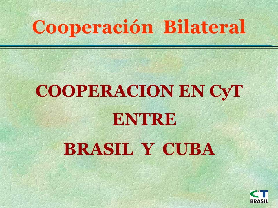 COOPERACION EN CyT ENTRE BRASIL Y CUBA Cooperación Bilateral