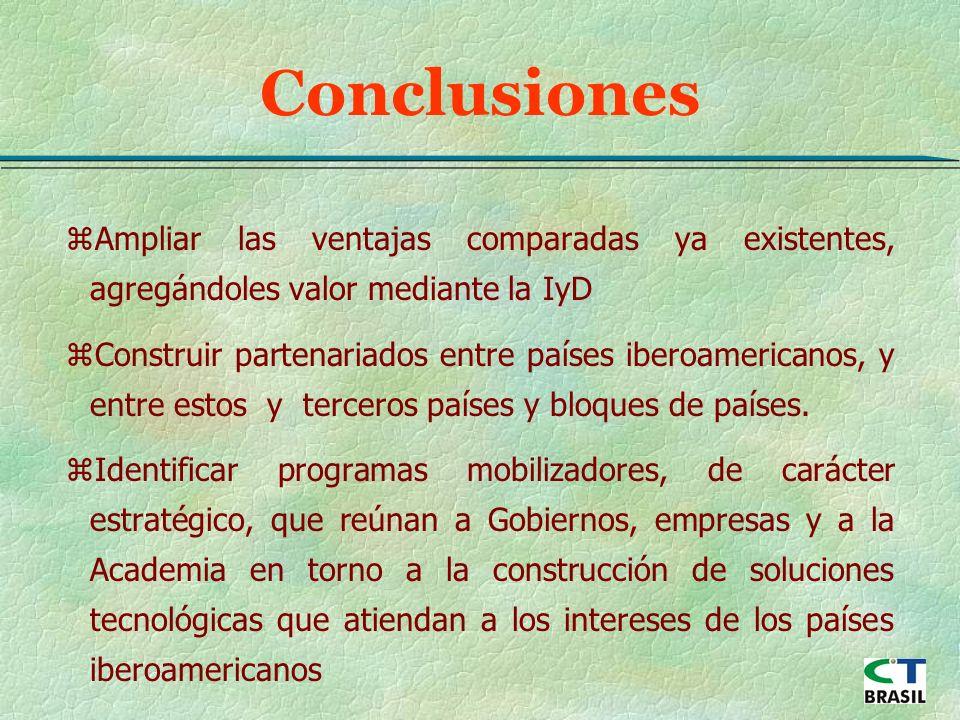 zAmpliar las ventajas comparadas ya existentes, agregándoles valor mediante la IyD zConstruir partenariados entre países iberoamericanos, y entre estos y terceros países y bloques de países.