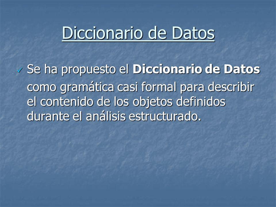 Diccionario de Datos Se ha propuesto el Diccionario de Datos Se ha propuesto el Diccionario de Datos como gramática casi formal para describir el cont