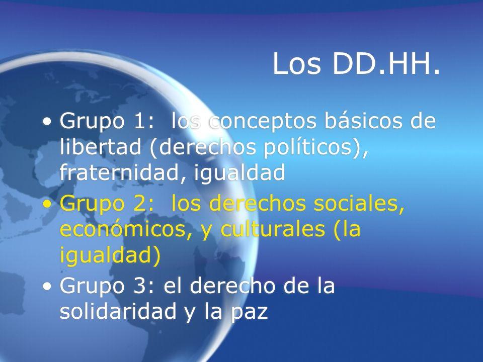 Los DD.HH. Grupo 1: los conceptos básicos de libertad (derechos políticos), fraternidad, igualdad Grupo 2: los derechos sociales, económicos, y cultur