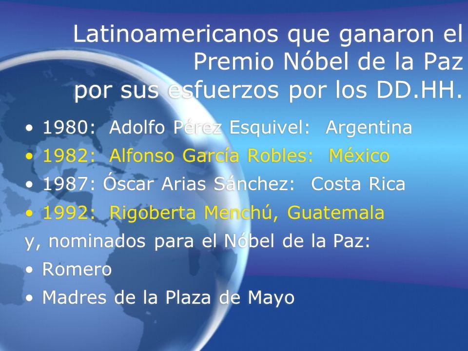 Latinoamericanos que ganaron el Premio Nóbel de la Paz por sus esfuerzos por los DD.HH. 1980: Adolfo Pérez Esquivel: Argentina 1982: Alfonso García Ro