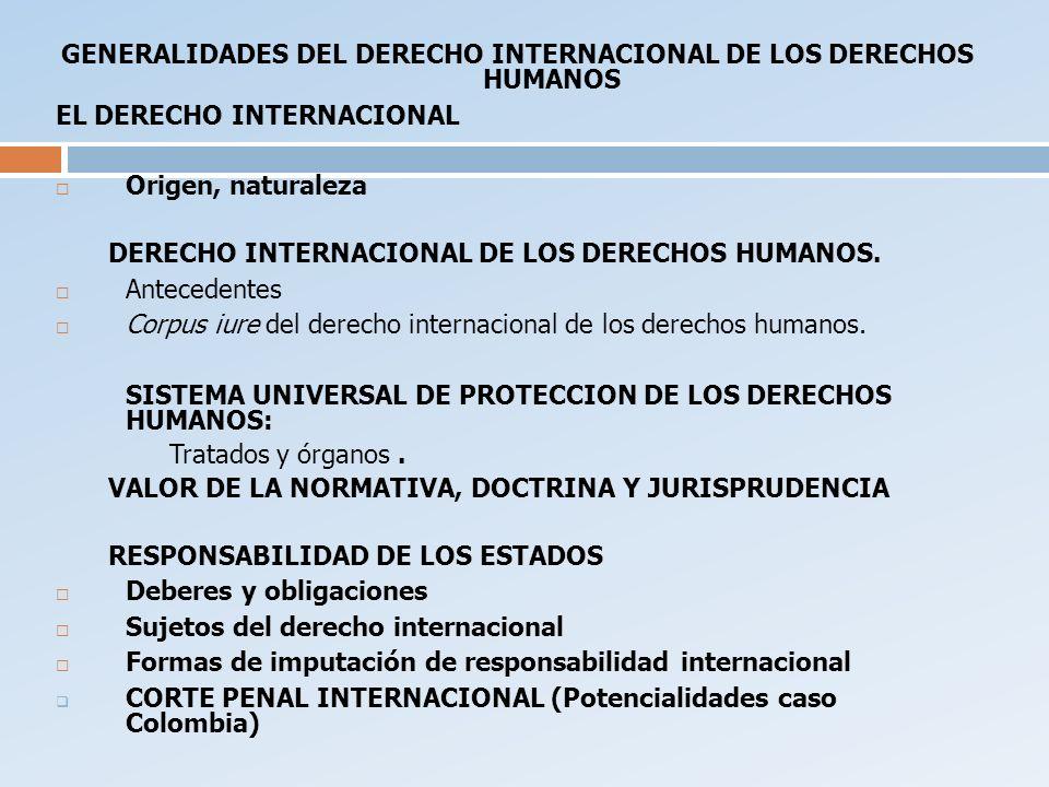 GENERALIDADES DEL DERECHO INTERNACIONAL DE LOS DERECHOS HUMANOS EL DERECHO INTERNACIONAL Origen, naturaleza DERECHO INTERNACIONAL DE LOS DERECHOS HUMA