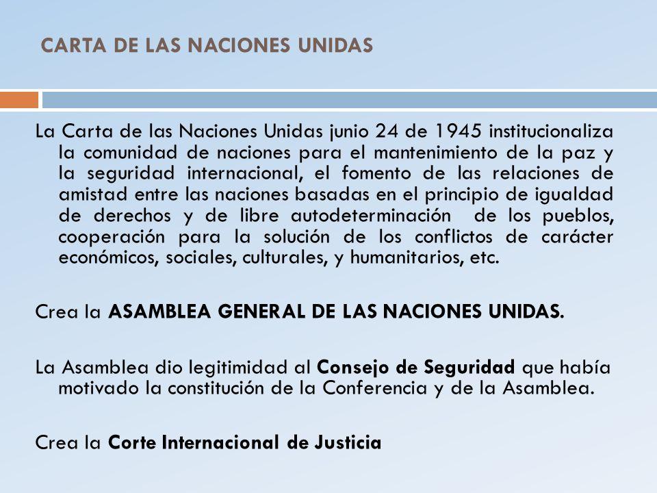 CARTA DE LAS NACIONES UNIDAS La Carta de las Naciones Unidas junio 24 de 1945 institucionaliza la comunidad de naciones para el mantenimiento de la pa