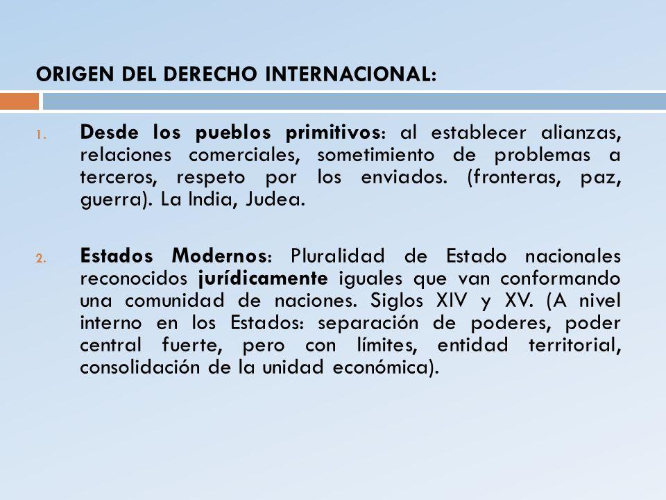ORIGEN DEL DERECHO INTERNACIONAL: 1. Desde los pueblos primitivos: al establecer alianzas, relaciones comerciales, sometimiento de problemas a tercero