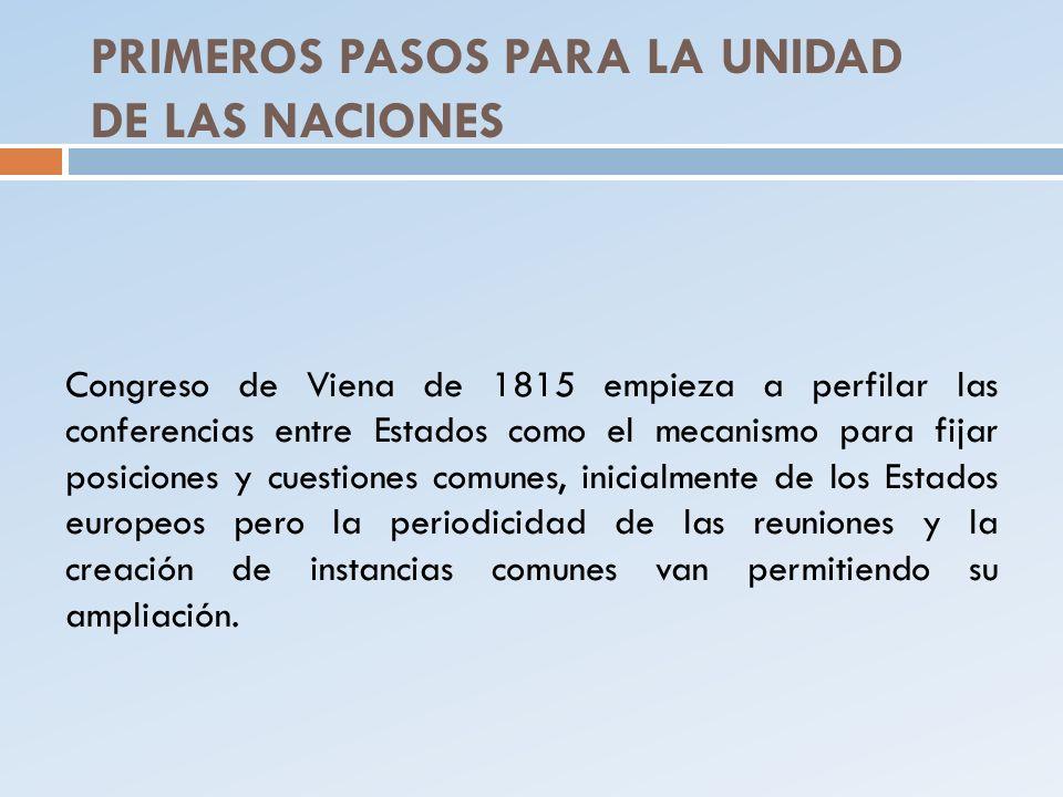 PRIMEROS PASOS PARA LA UNIDAD DE LAS NACIONES Congreso de Viena de 1815 empieza a perfilar las conferencias entre Estados como el mecanismo para fijar