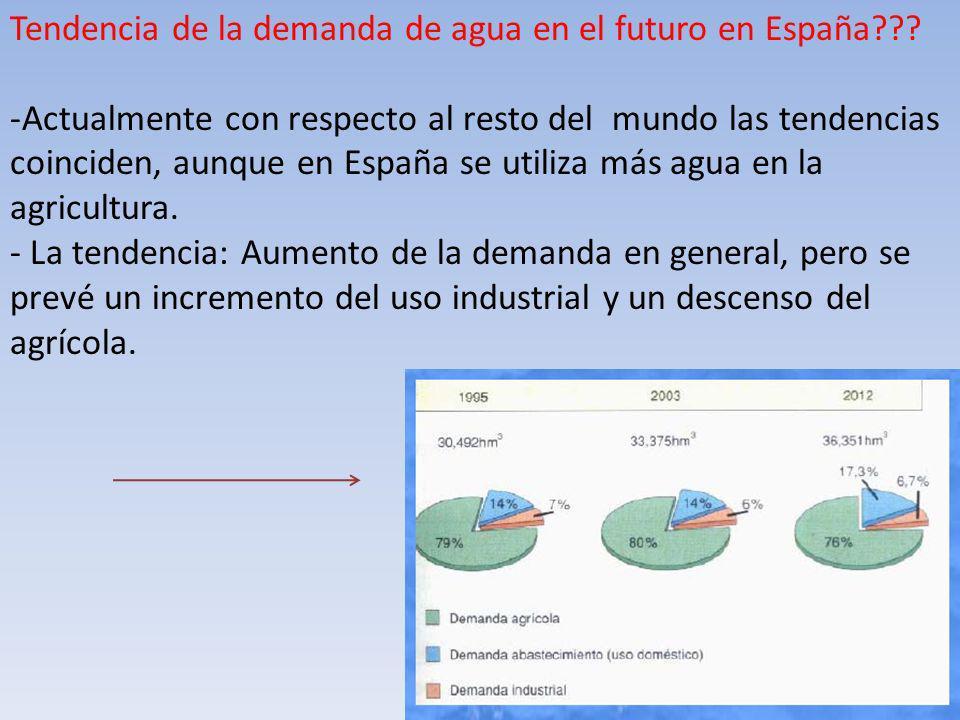 Tendencia de la demanda de agua en el futuro en España??? -Actualmente con respecto al resto del mundo las tendencias coinciden, aunque en España se u