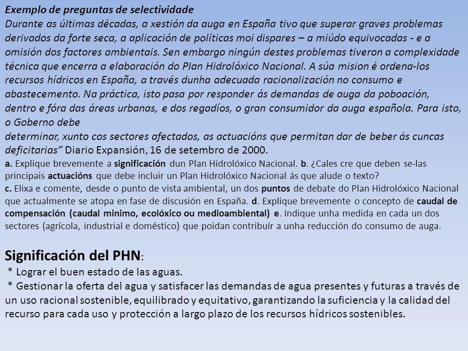 Exemplo de preguntas de selectividade Durante as úItimas décadas, a xestión da auga en España tivo que superar graves problemas derivados da forte sec