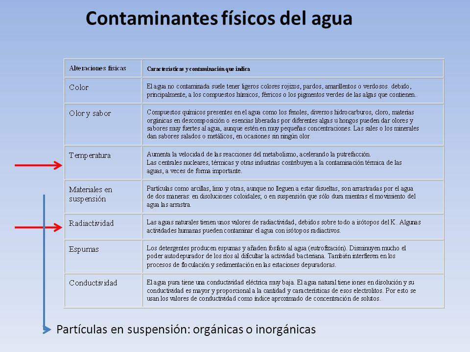 Contaminantes físicos del agua Partículas en suspensión: orgánicas o inorgánicas