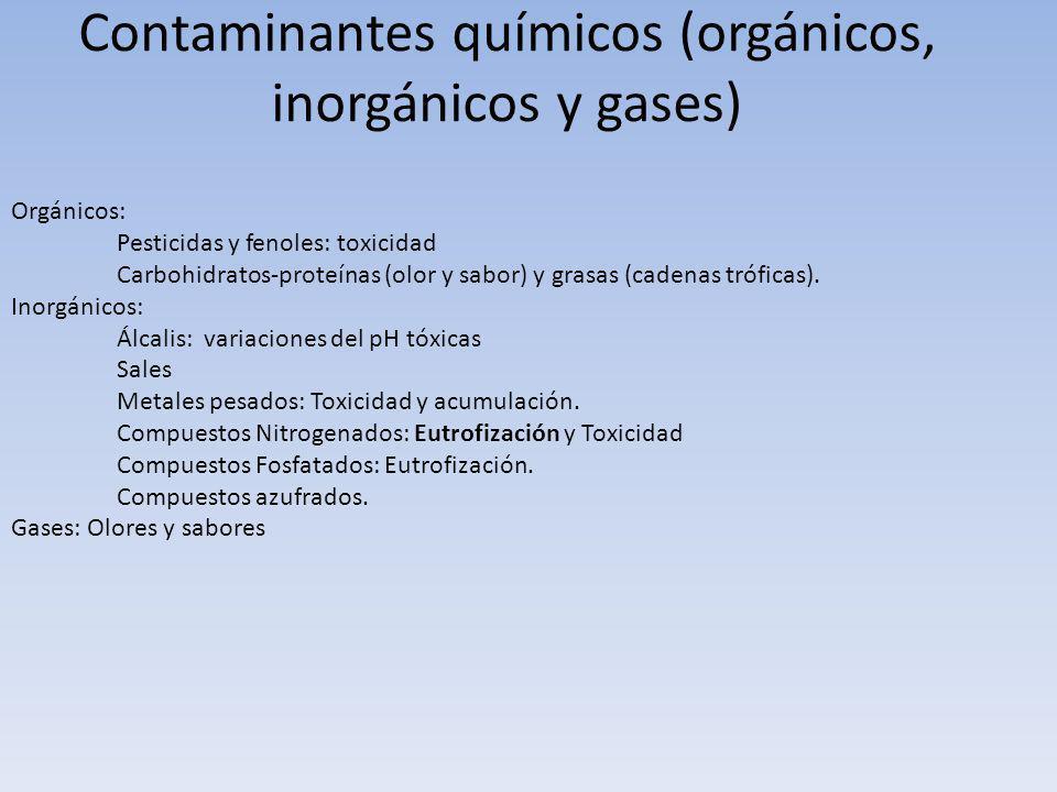 Contaminantes químicos (orgánicos, inorgánicos y gases) Orgánicos: Pesticidas y fenoles: toxicidad Carbohidratos-proteínas (olor y sabor) y grasas (ca