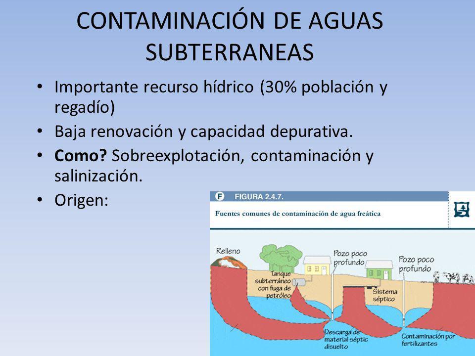 CONTAMINACIÓN DE AGUAS SUBTERRANEAS Importante recurso hídrico (30% población y regadío) Baja renovación y capacidad depurativa. Como? Sobreexplotació