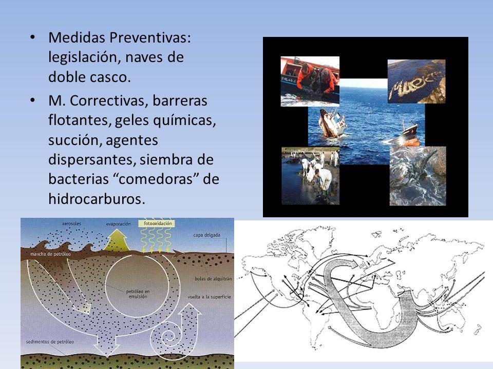 Medidas Preventivas: legislación, naves de doble casco. M. Correctivas, barreras flotantes, geles químicas, succión, agentes dispersantes, siembra de
