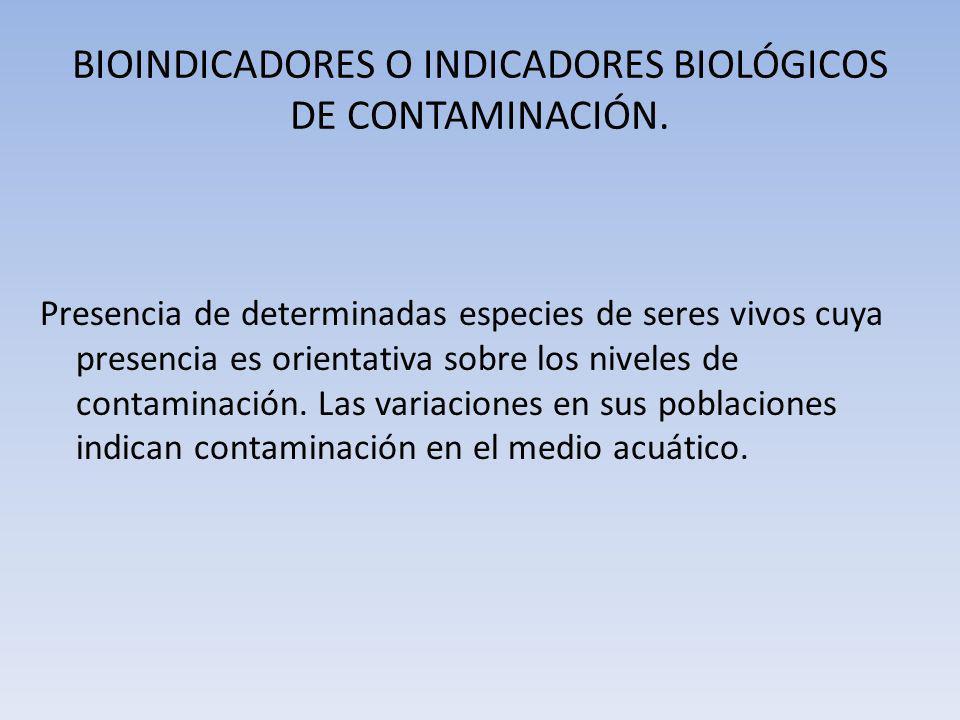BIOINDICADORES O INDICADORES BIOLÓGICOS DE CONTAMINACIÓN. Presencia de determinadas especies de seres vivos cuya presencia es orientativa sobre los ni