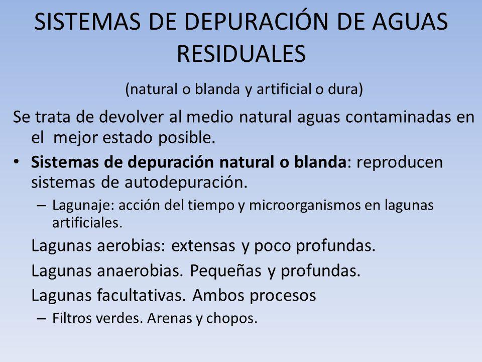 SISTEMAS DE DEPURACIÓN DE AGUAS RESIDUALES (natural o blanda y artificial o dura) Se trata de devolver al medio natural aguas contaminadas en el mejor