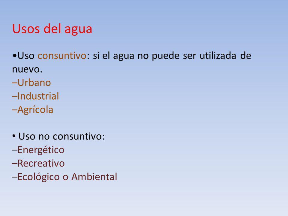 Usos del agua Uso consuntivo: si el agua no puede ser utilizada de nuevo. –Urbano –Industrial –Agrícola Uso no consuntivo: –Energético –Recreativo –Ec