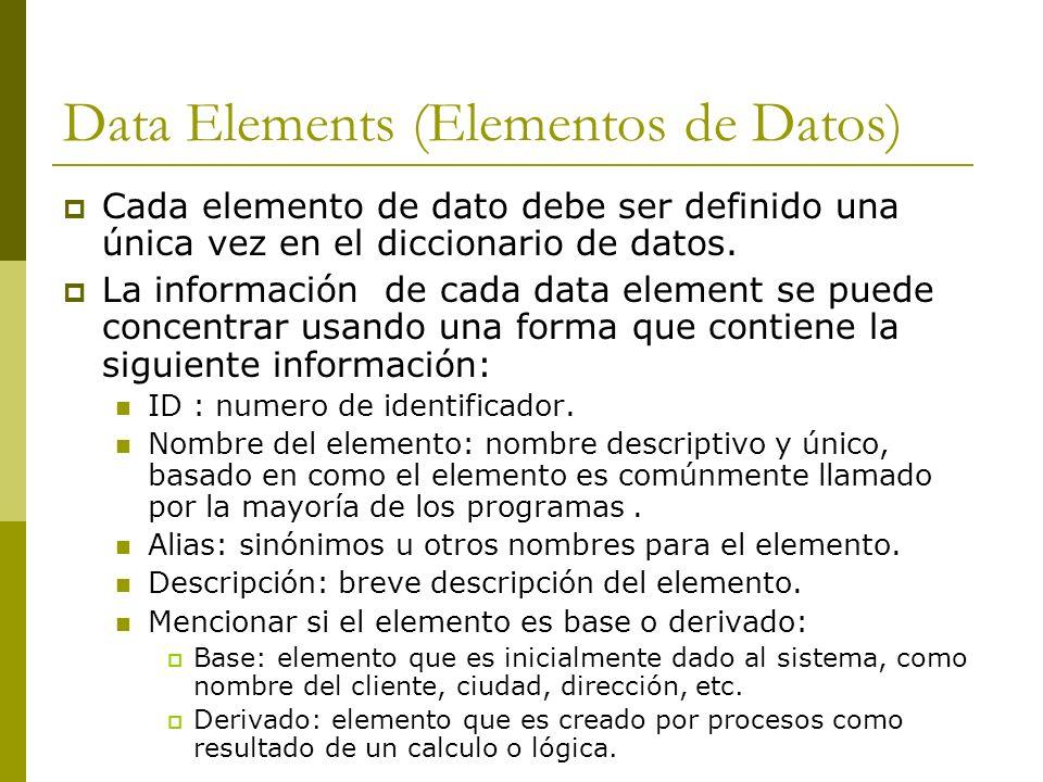 Data Elements (Elementos de Datos) Cada elemento de dato debe ser definido una única vez en el diccionario de datos. La información de cada data eleme