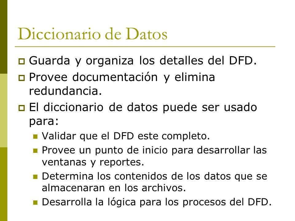 Diccionario de Datos Guarda y organiza los detalles del DFD. Provee documentación y elimina redundancia. El diccionario de datos puede ser usado para: