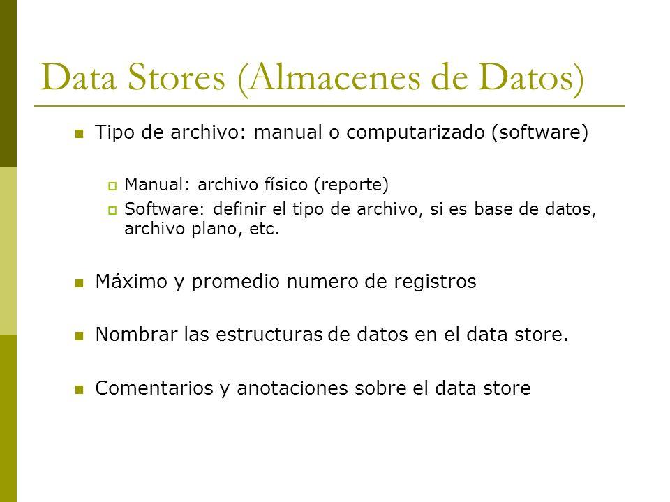 Data Stores (Almacenes de Datos) Tipo de archivo: manual o computarizado (software) Manual: archivo físico (reporte) Software: definir el tipo de arch