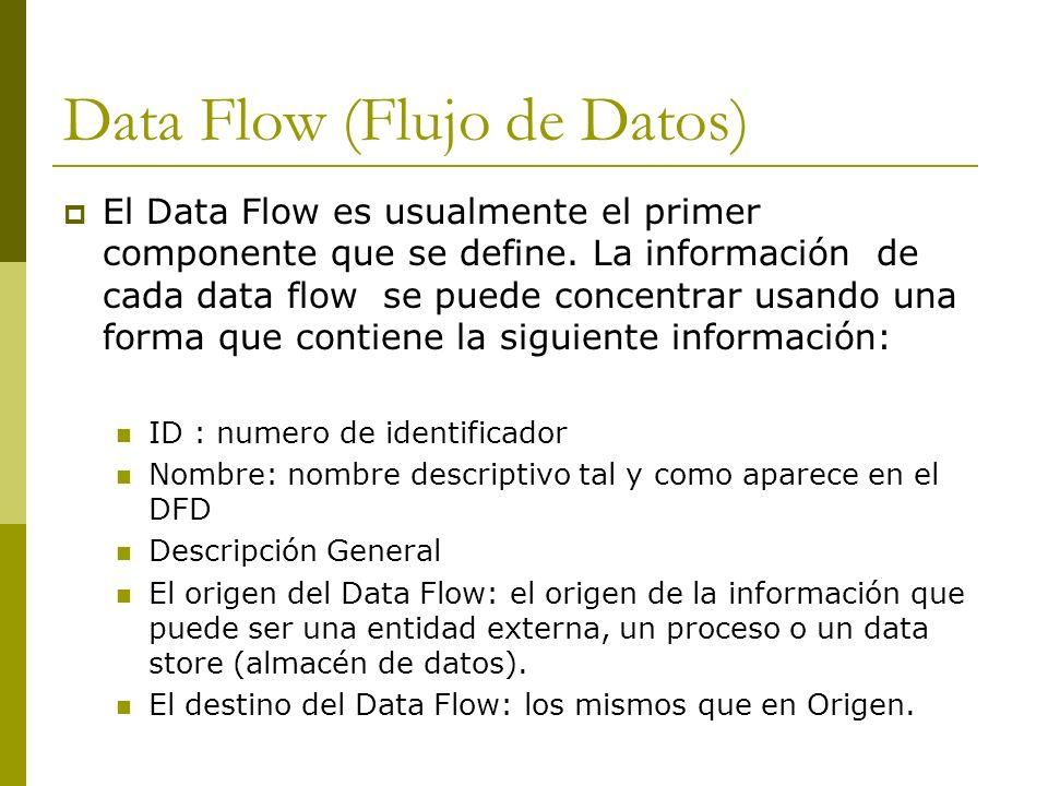 Data Flow (Flujo de Datos) El Data Flow es usualmente el primer componente que se define. La información de cada data flow se puede concentrar usando