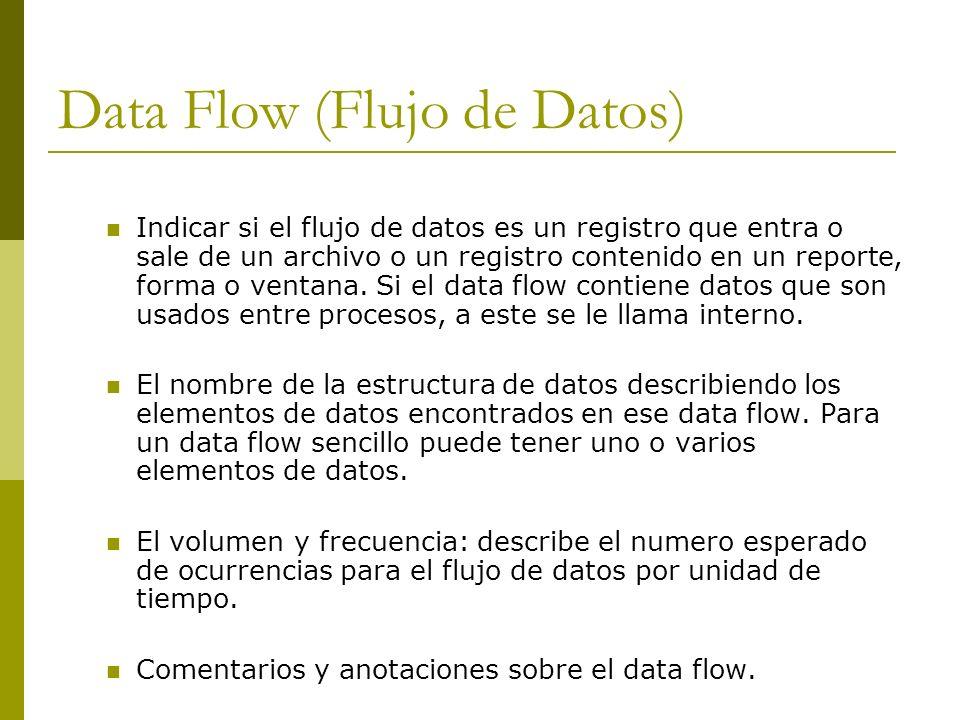 Data Flow (Flujo de Datos) Indicar si el flujo de datos es un registro que entra o sale de un archivo o un registro contenido en un reporte, forma o v
