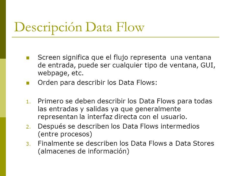 Descripción Data Flow Screen significa que el flujo representa una ventana de entrada, puede ser cualquier tipo de ventana, GUI, webpage, etc. Orden p