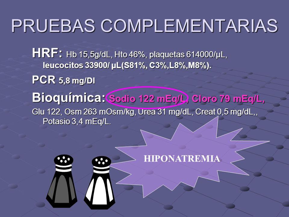 PRUEBAS COMPLEMENTARIAS HRF: Hb 15,5g/dL, Hto 46%, plaquetas 614000/µL, leucocitos 33900/ µL(S81%, C3%,L8%,M8%).