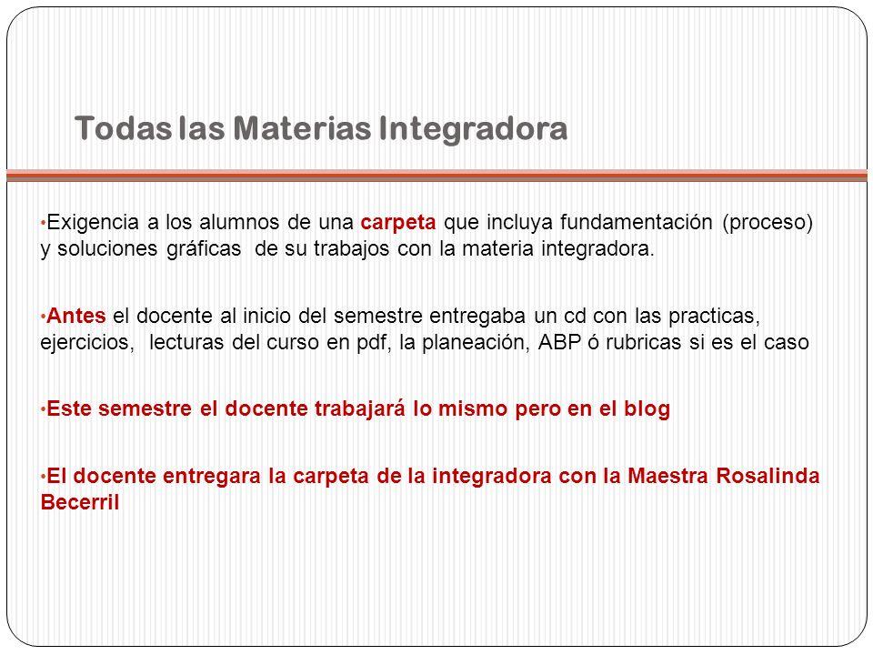 Todas las Materias Integradora Exigencia a los alumnos de una carpeta que incluya fundamentación (proceso) y soluciones gráficas de su trabajos con la