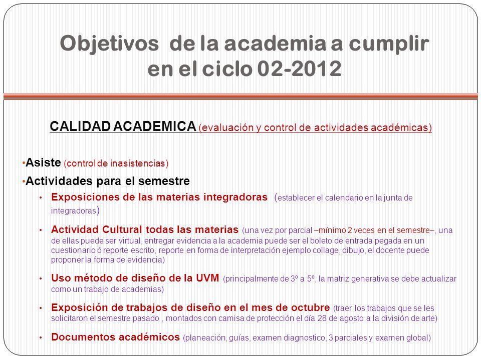 Objetivos de la academia a cumplir en el ciclo 02-2012 CALIDAD ACADEMICA (evaluación y control de actividades académicas) Asiste (control de inasisten
