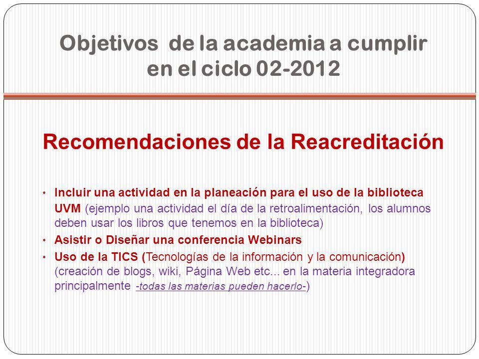 Objetivos de la academia a cumplir en el ciclo 02-2012 Recomendaciones de la Reacreditación Incluir una actividad en la planeación para el uso de la b