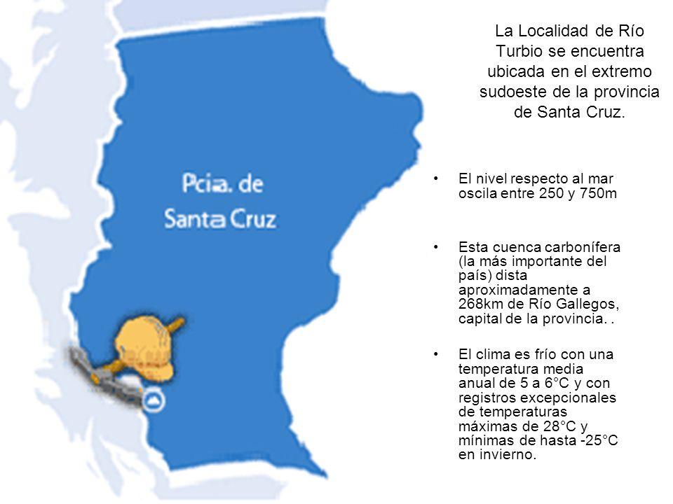 La Localidad de Río Turbio se encuentra ubicada en el extremo sudoeste de la provincia de Santa Cruz. El nivel respecto al mar oscila entre 250 y 750m