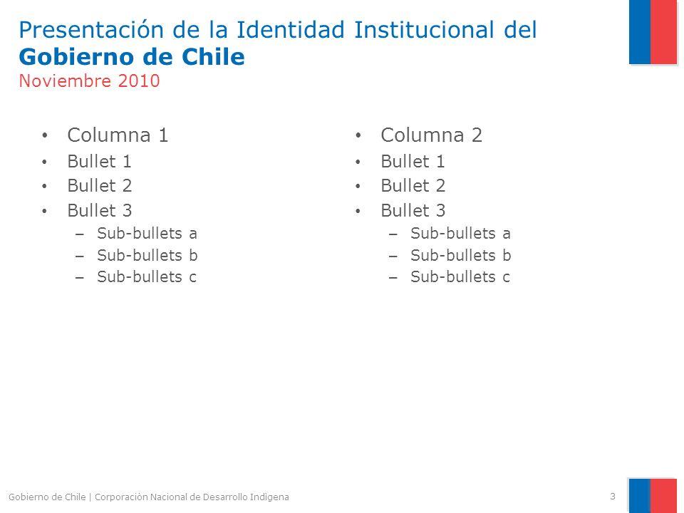 Presentación de la Identidad Institucional del Gobierno de Chile Uso del color 4 R: 219 G: 65 B: 68 R: 00 G: 108 B: 183 Gris 20 Gris 50 Gris 80 Gobierno de Chile | Corporaciòn Nacional de Desarrollo Indìgena