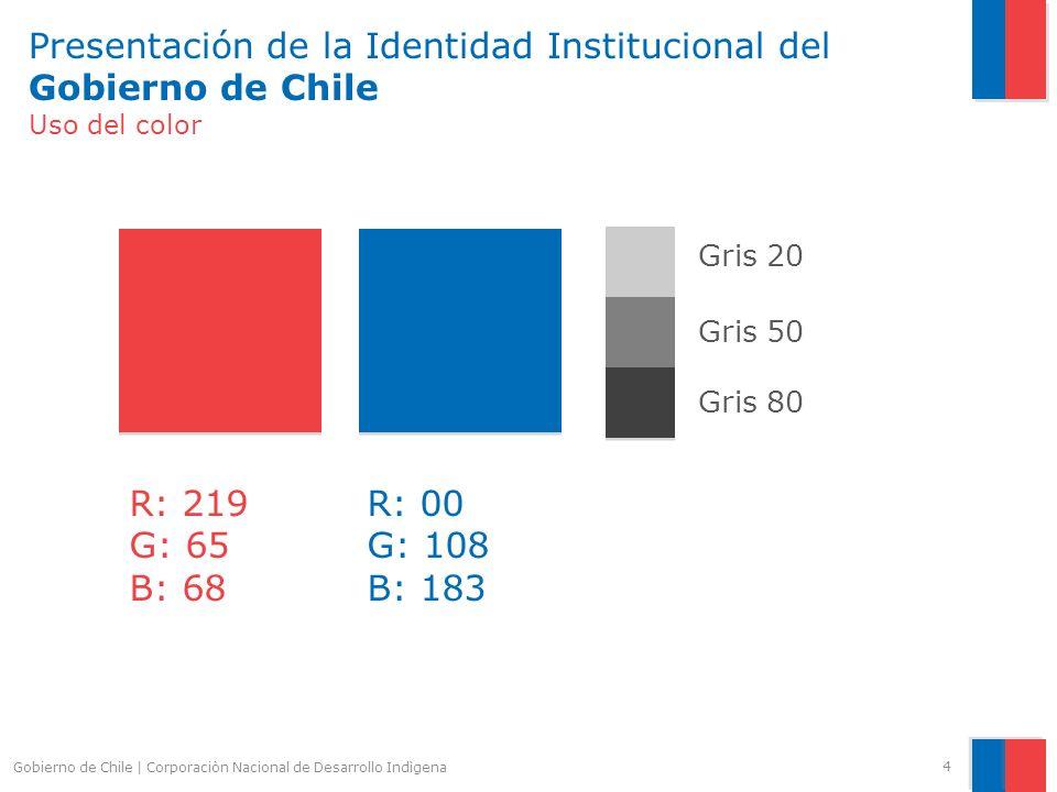 Presentación de la Identidad Institucional del Gobierno de Chile Slide Backgound azul El fondo del slide se puede modificiar a diferentes colores de la paleta primaria de la marca de Gobierno.