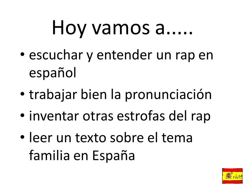 Hoy vamos a..... escuchar y entender un rap en español trabajar bien la pronunciación inventar otras estrofas del rap leer un texto sobre el tema fami