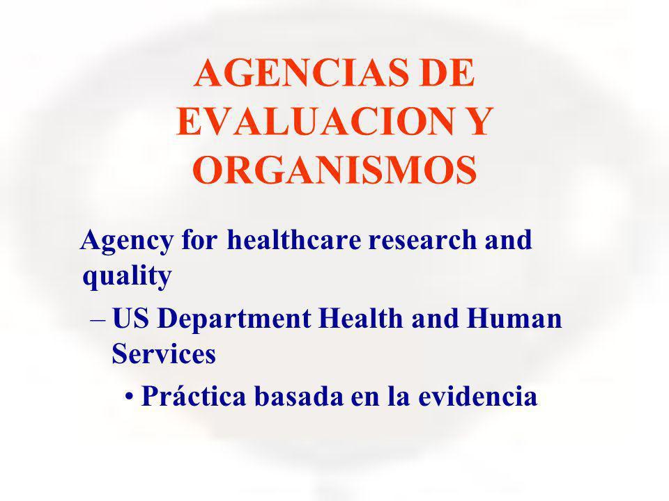 AGENCIAS DE EVALUACION Y ORGANISMOS Agency for healthcare research and quality –US Department Health and Human Services Práctica basada en la evidenci