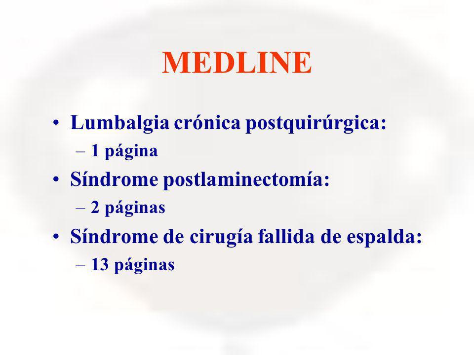 MEDLINE Lumbalgia crónica postquirúrgica: –1 página Síndrome postlaminectomía: –2 páginas Síndrome de cirugía fallida de espalda: –13 páginas